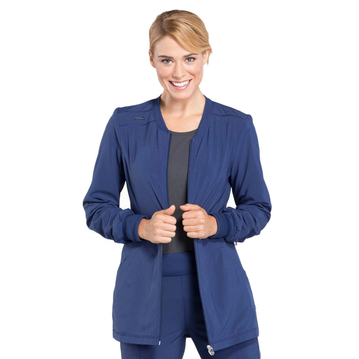 Cherokee Infinity CK370A Scrubs Jacket Women's Zip Front Warm-Up Navy