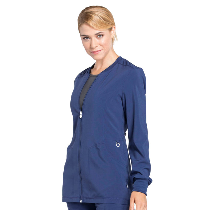 Cherokee Infinity CK370A Scrubs Jacket Women's Zip Front Warm-Up Navy 4XL