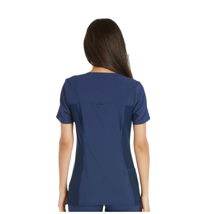 Cherokee iflex CK605 Scrubs Top Women's V-Neck Knit Panel Navy 3XL