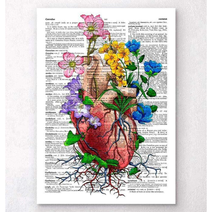 Heart With Flowers Dictionary Page