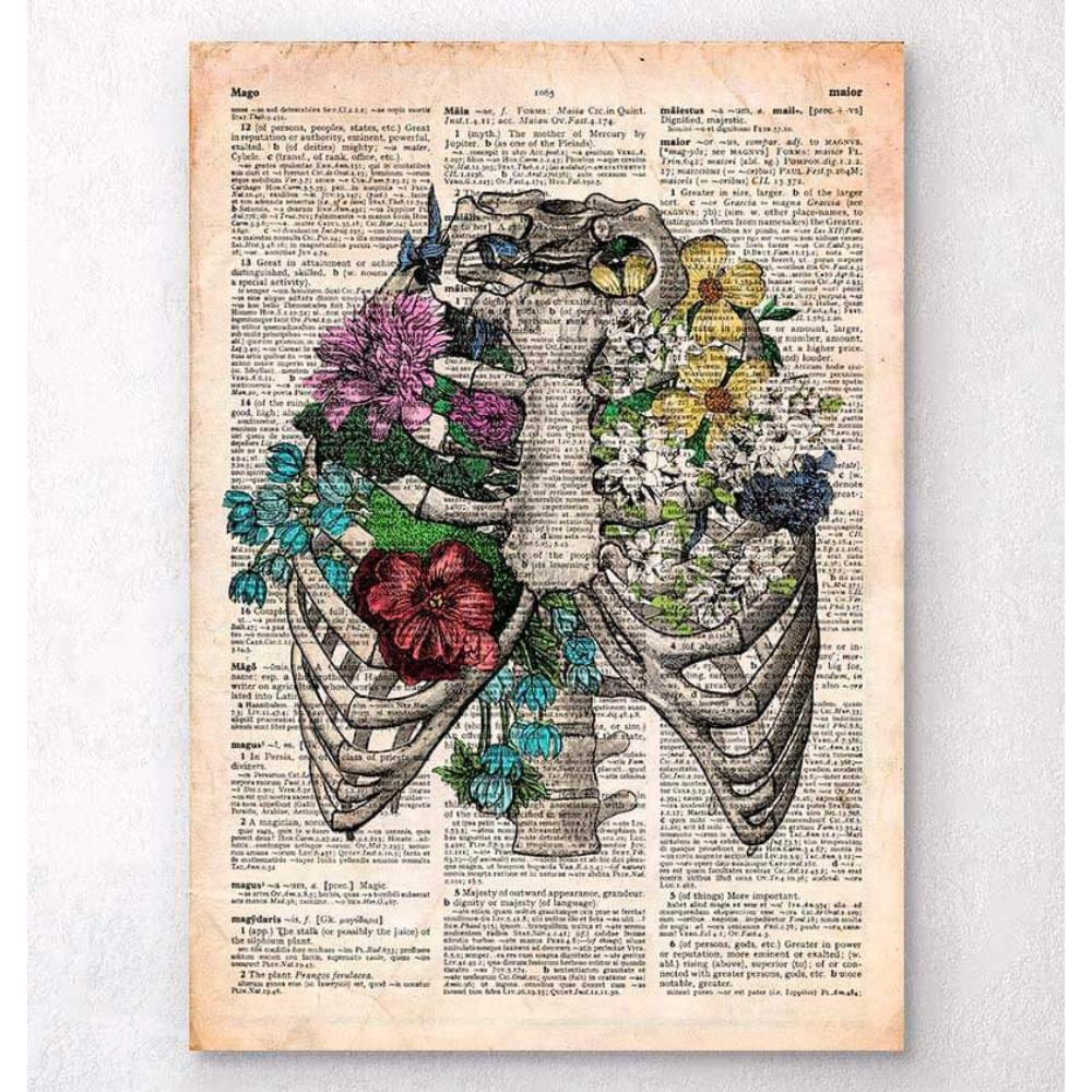 Rib Cage With Flowers Old Dictionary Page