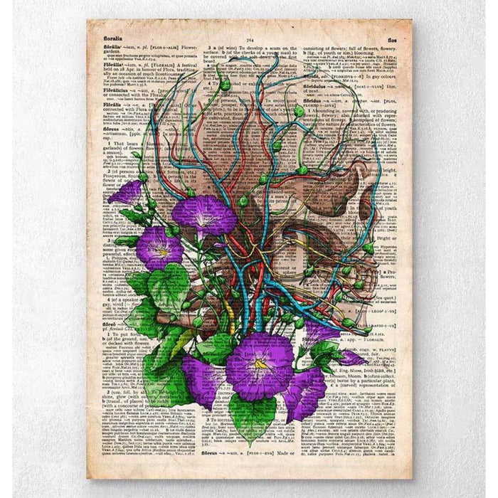 Skull With Flowers Old Dictionary Page