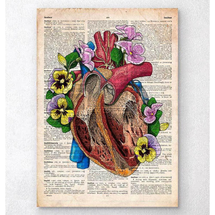 Floral Heart Anatomy II Old Dictionary Page