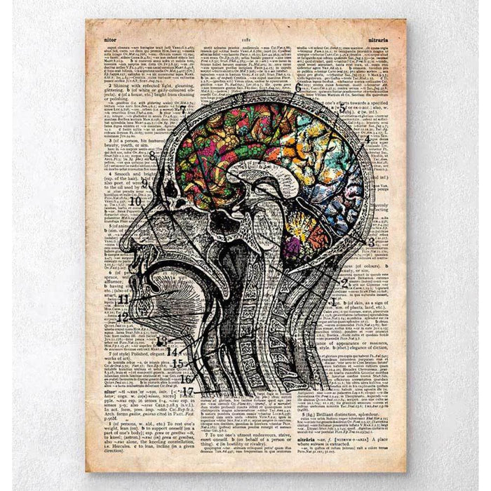 Floral Brain Art Old Dictionary Page