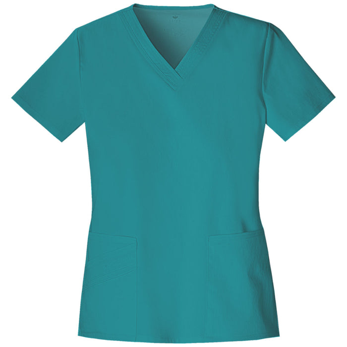 Cherokee Luxe 1845 Scrubs Top Women's V-Neck Teal Blue 3XL