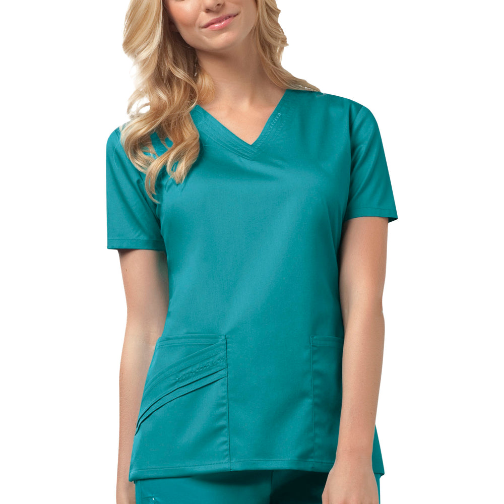 Cherokee Luxe 1845 Scrubs Top Women's V-Neck Teal Blue