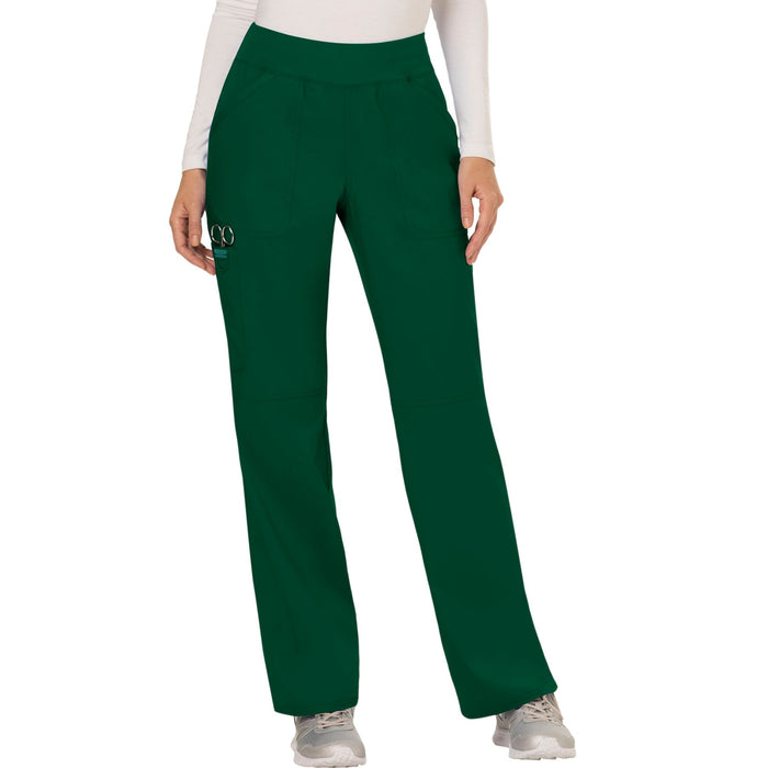 Cherokee Workwear Revolution WW110 Scrubs Pants Women's Mid Rise Straight Leg Pull-on Hunter Green