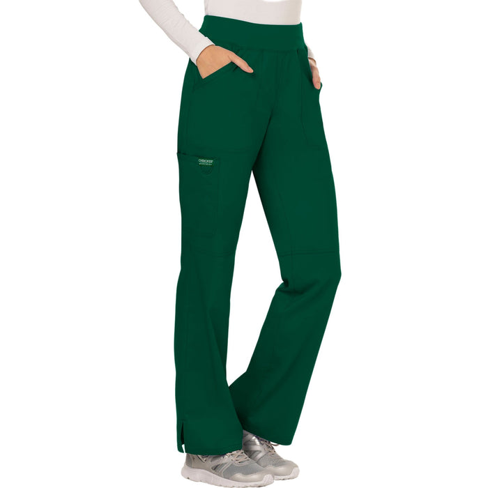 Cherokee Workwear Revolution WW110 Scrubs Pants Women's Mid Rise Straight Leg Pull-on Hunter Green 5XL