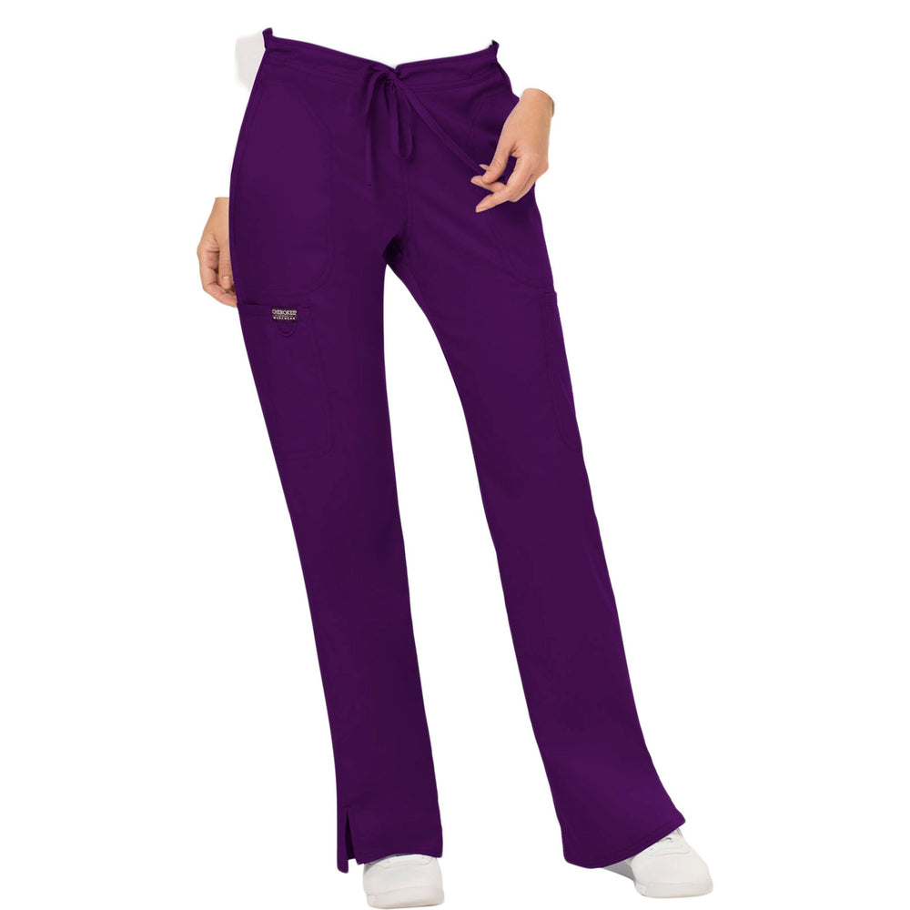 Cherokee Workwear Revolution WW120 Scrubs Pants Women's Mid Rise Moderate Flare Drawstring Eggplant