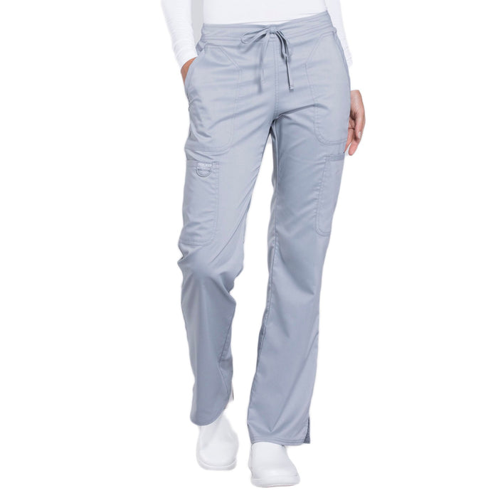 Cherokee Workwear Revolution WW120 Scrubs Pants Women's Mid Rise Moderate Flare Drawstring Grey
