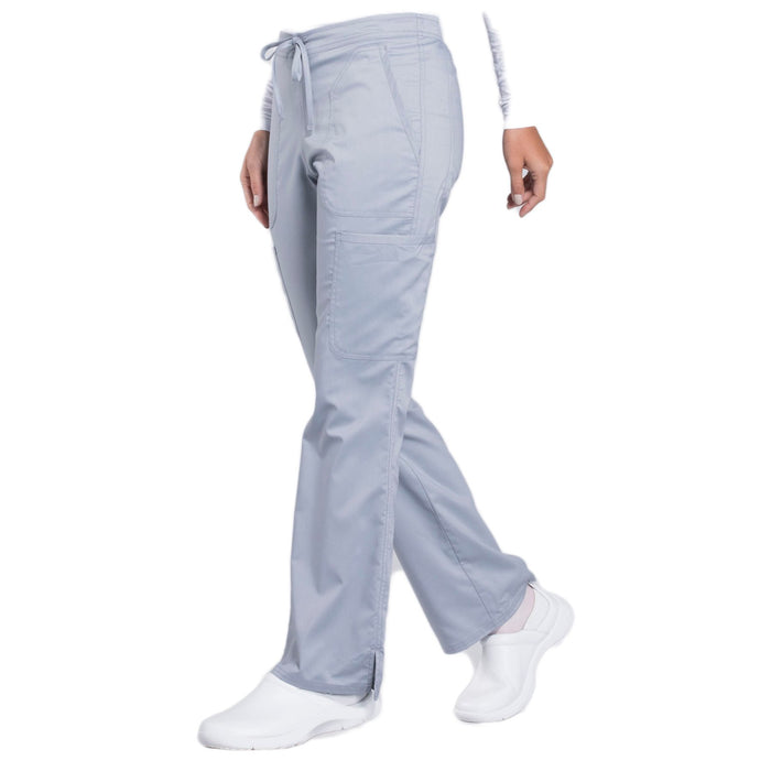 Cherokee Workwear Revolution WW120 Scrubs Pants Women's Mid Rise Moderate Flare Drawstring Grey 4XL
