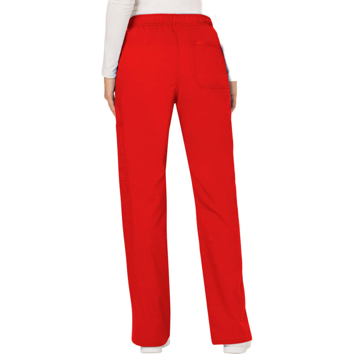 Cherokee Workwear Revolution WW120 Scrubs Pants Women's Mid Rise Moderate Flare Drawstring Red 3XL