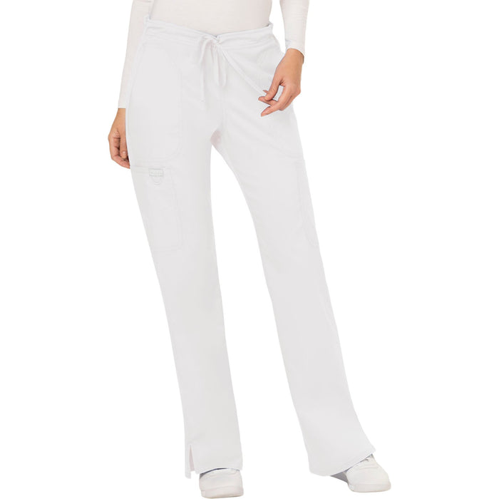 Cherokee Workwear Revolution WW120 Scrubs Pants Women's Mid Rise Moderate Flare Drawstring White