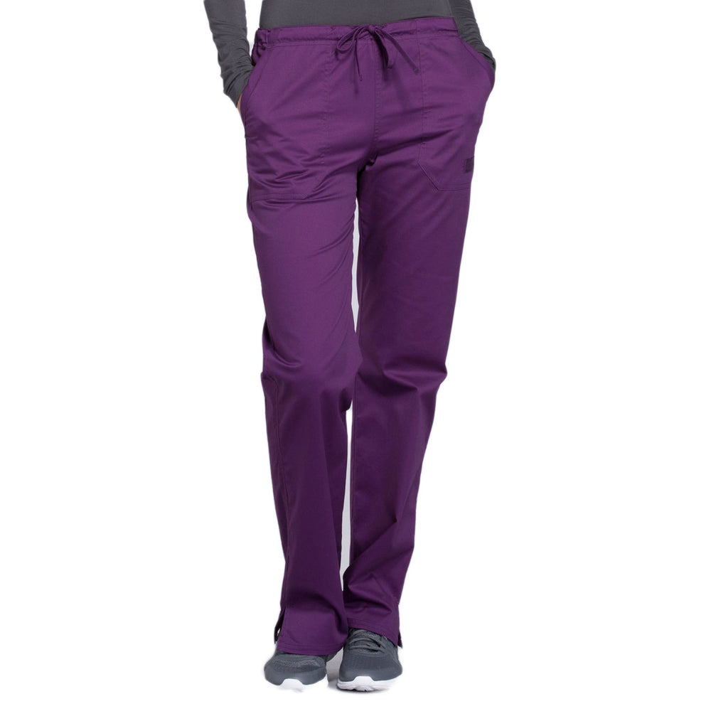 Cherokee Core Stretch WW130 Scrubs Pants Women's Mid Rise Straight Leg Drawstring Eggplant