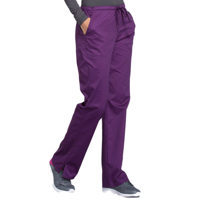 Cherokee Core Stretch WW130 Scrubs Pants Women's Mid Rise Straight Leg Drawstring Eggplant 5XL
