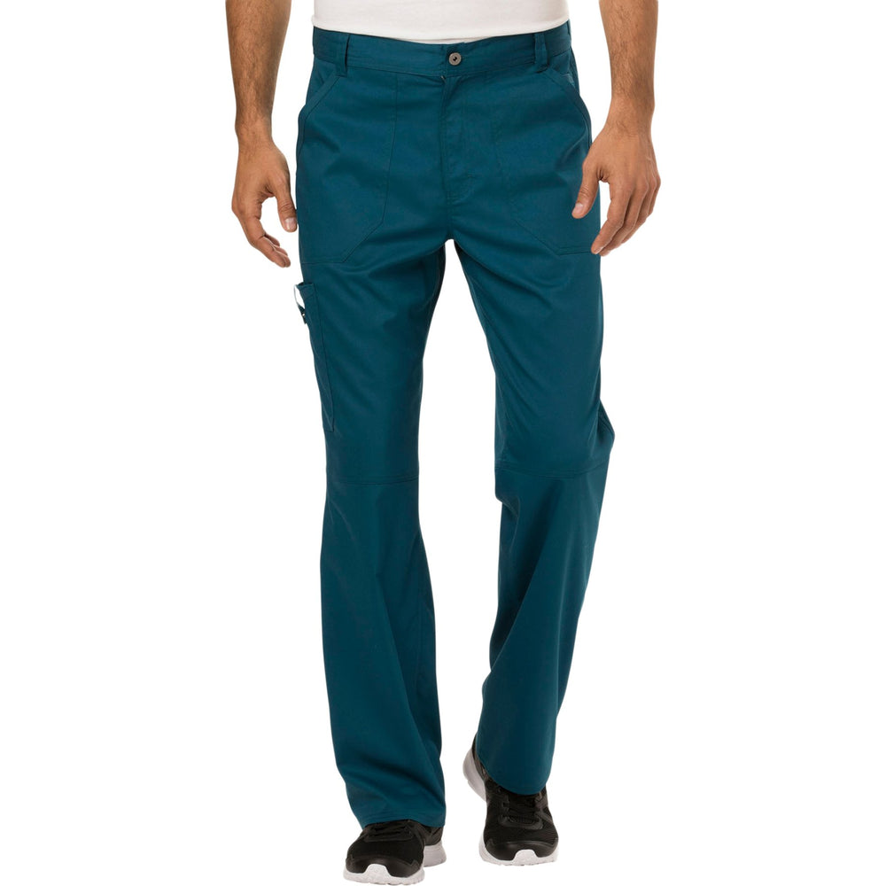 Cherokee Workwear Revolution WW140 Scrubs Pants Men's Fly Front Caribbean Blue