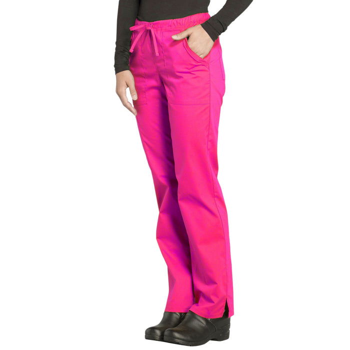 Cherokee Workwear Professionals WW160 Scrubs Pants Women's Mid Rise Straight Leg Drawstring Electric Pink 4XL