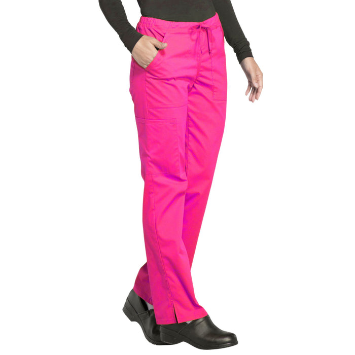 Cherokee Workwear Professionals WW160 Scrubs Pants Women's Mid Rise Straight Leg Drawstring Electric Pink 5XL