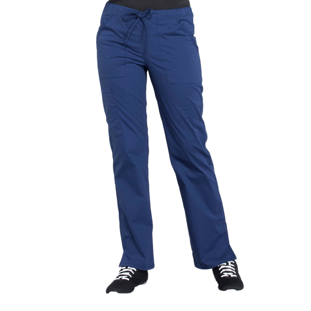 Cherokee Workwear Professionals WW160 Scrubs Pants Women's Mid Rise Straight Leg Drawstring Navy