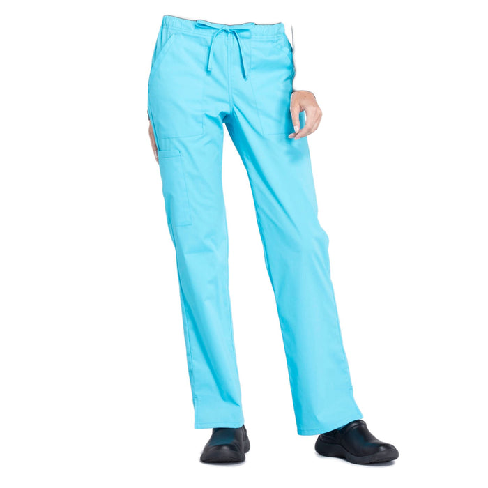 Cherokee Workwear Professionals WW160 Scrubs Pants Women's Mid Rise Straight Leg Drawstring Turquoise