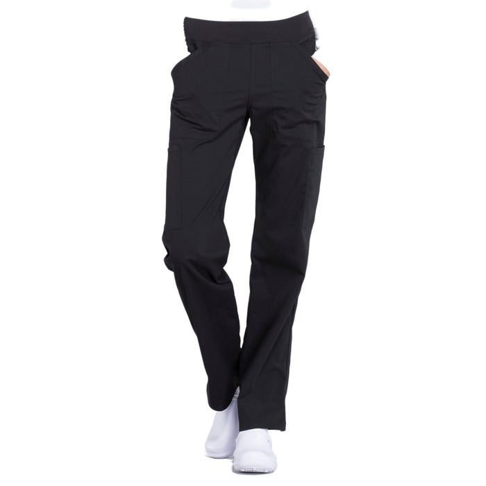 Cherokee Workwear Professionals WW170 Scrubs Pants Women's Mid Rise Straight Leg Pull-on Cargo Black