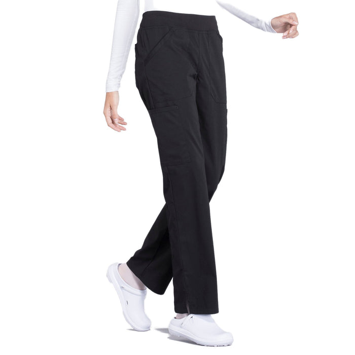 Cherokee Workwear Professionals WW170 Scrubs Pants Women's Mid Rise Straight Leg Pull-on Cargo Black 5XL