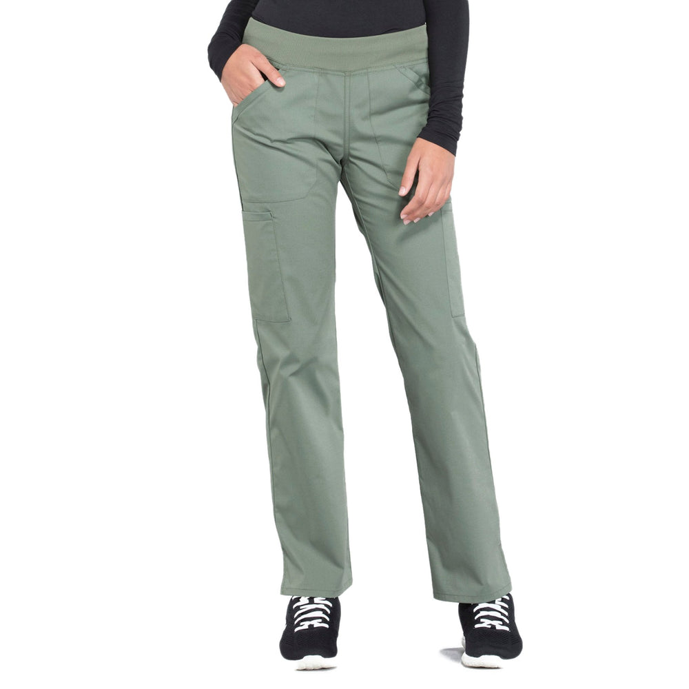 Cherokee Workwear Professionals WW170 Scrubs Pants Women's Mid Rise Straight Leg Pull-on Cargo Olive