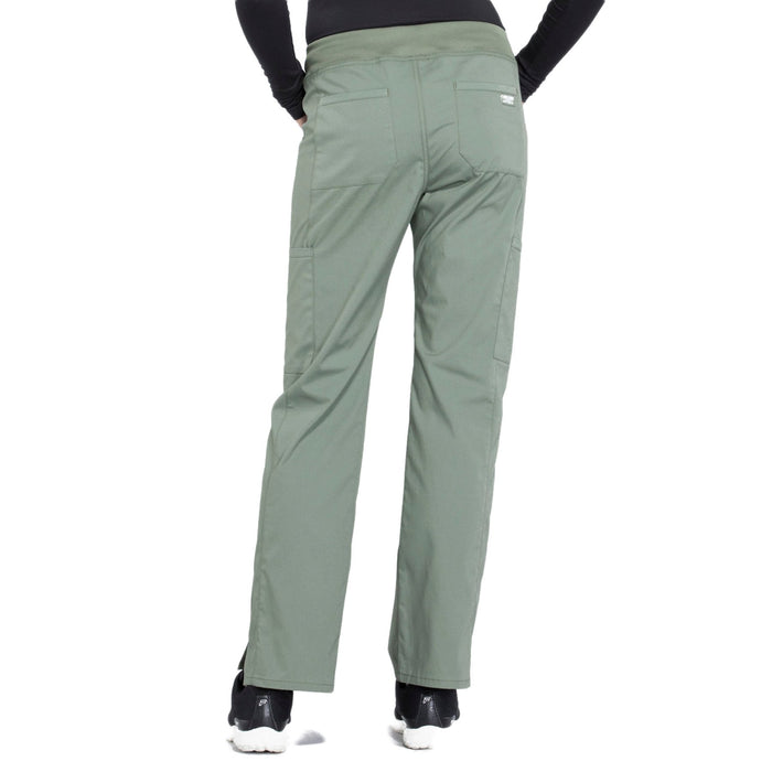 Cherokee Workwear Professionals WW170 Scrubs Pants Women's Mid Rise Straight Leg Pull-on Cargo Olive 3XL