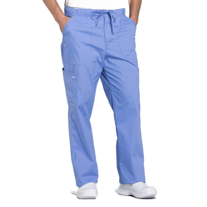 Cherokee Workwear Professionals WW190 Scrubs Pants Men's Tapered Leg Drawstring Cargo Ciel Blue