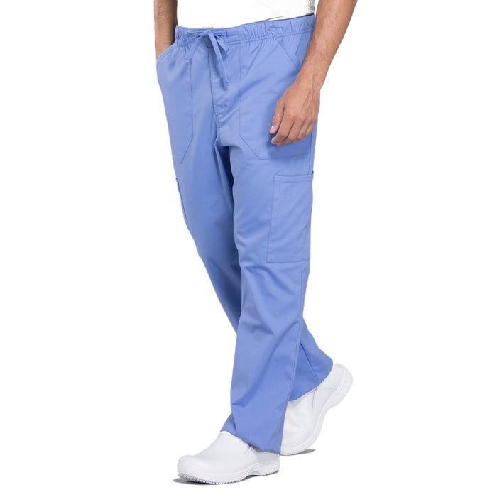 Cherokee Workwear Professionals WW190 Scrubs Pants Men's Tapered Leg Drawstring Cargo Ciel Blue 4XL