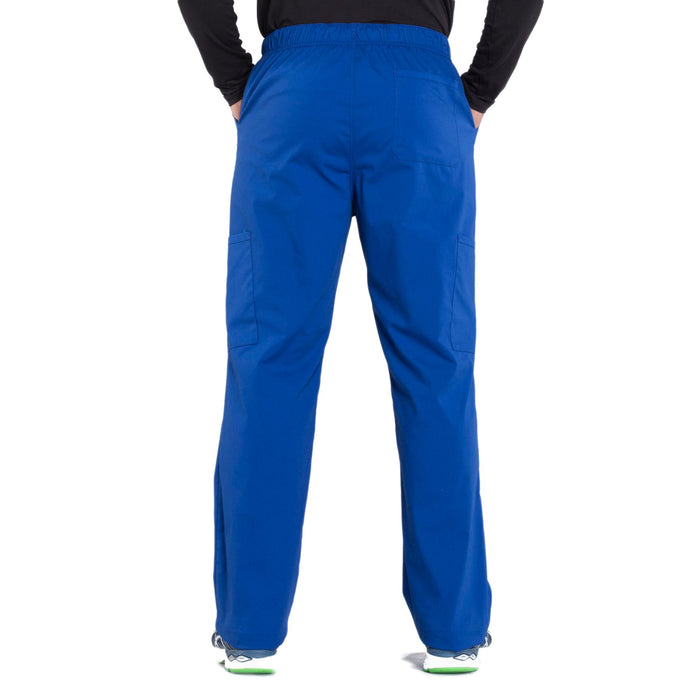 Cherokee Workwear Professionals WW190 Scrubs Pants Men's Tapered Leg Drawstring Cargo Galaxy Blue 3XL