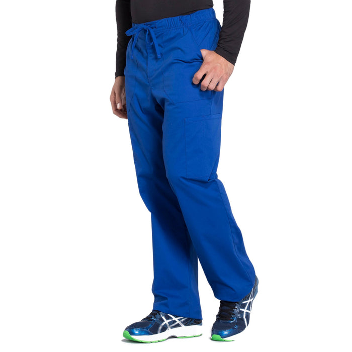 Cherokee Workwear Professionals WW190 Scrubs Pants Men's Tapered Leg Drawstring Cargo Galaxy Blue 4XL
