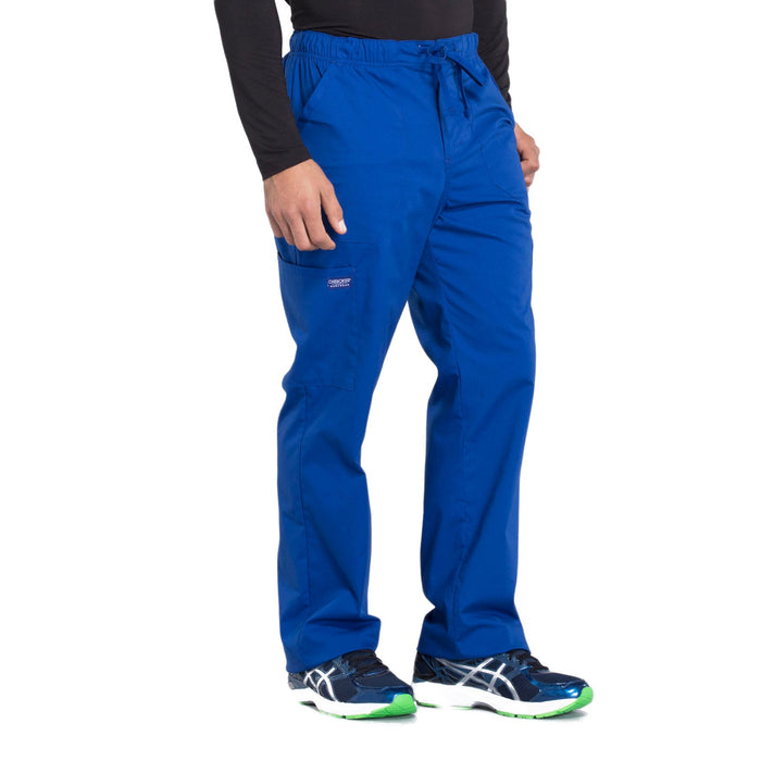 Cherokee Workwear Professionals WW190 Scrubs Pants Men's Tapered Leg Drawstring Cargo Galaxy Blue 5XL