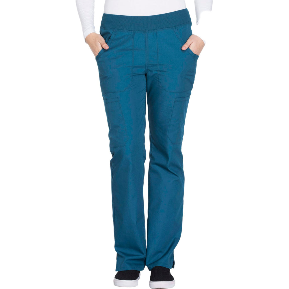 Cherokee Workwear WW210 Scrubs Pants Women's Mid Rise Straight Leg Pull-on Cargo Caribbean Blue