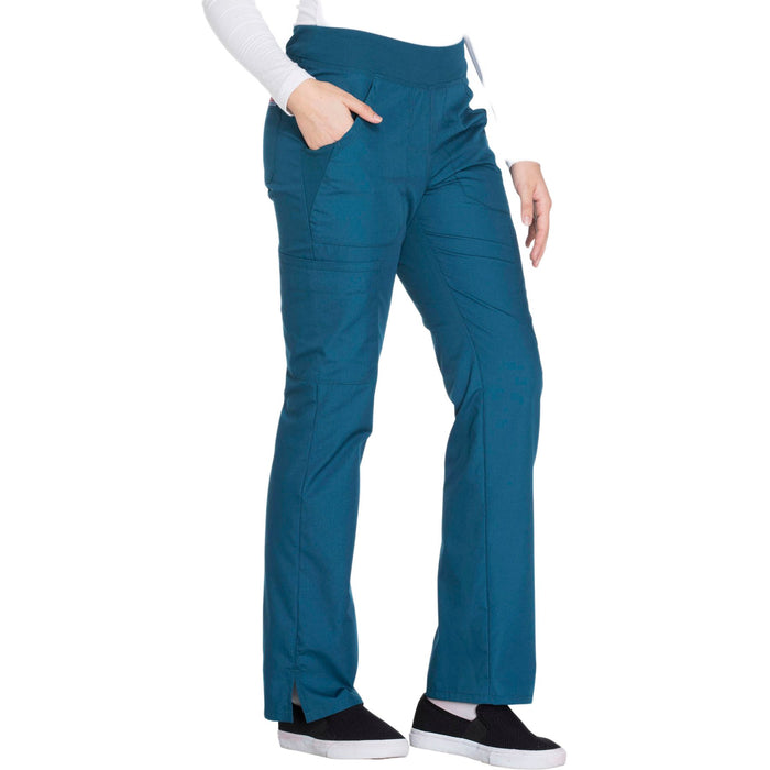 Cherokee Workwear WW210 Scrubs Pants Women's Mid Rise Straight Leg Pull-on Cargo Caribbean Blue 5XL