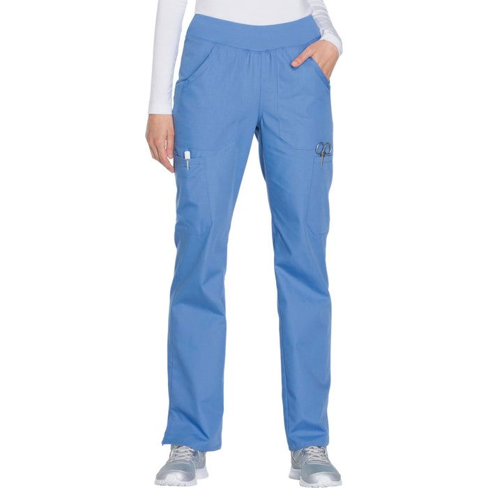 Cherokee Workwear WW210 Scrubs Pants Women's Mid Rise Straight Leg Pull-on Cargo Ciel Blue