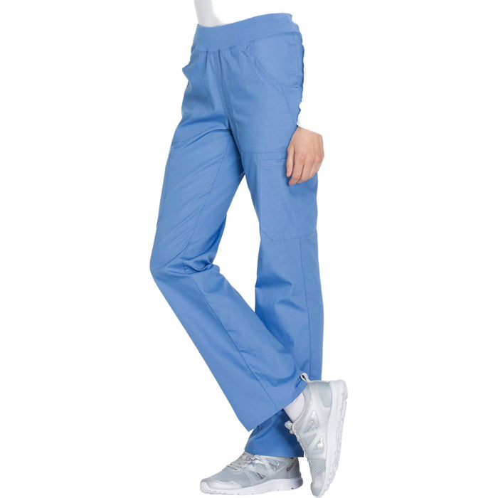 Cherokee Workwear WW210 Scrubs Pants Women's Mid Rise Straight Leg Pull-on Cargo Ciel Blue 4XL