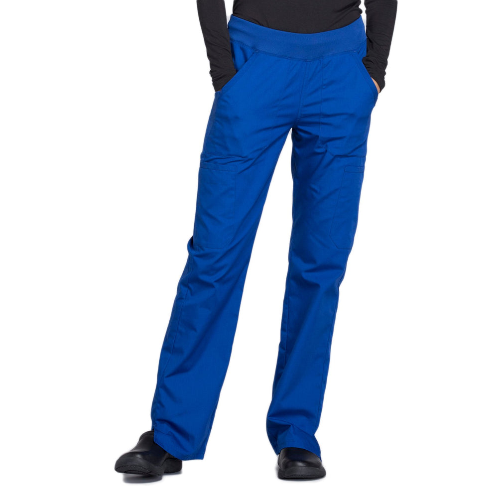 Cherokee Workwear WW210 Scrubs Pants Women's Mid Rise Straight Leg Pull-on Cargo Galaxy Blue