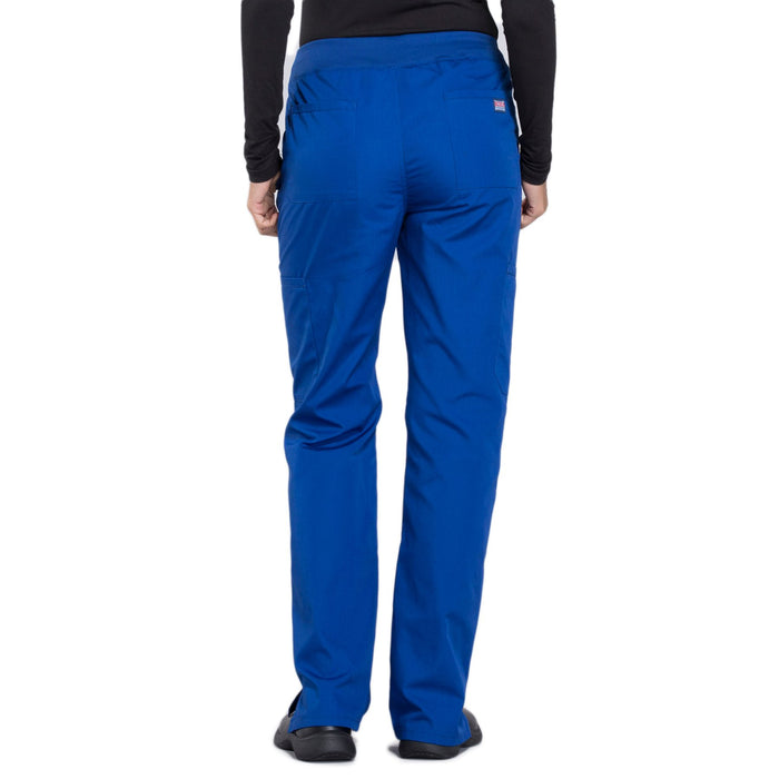 Cherokee Workwear WW210 Scrubs Pants Women's Mid Rise Straight Leg Pull-on Cargo Galaxy Blue 3XL