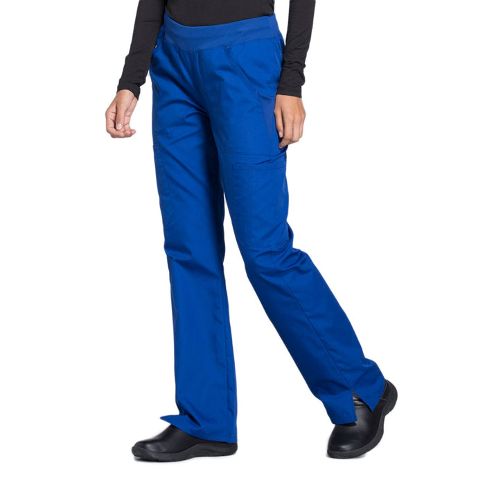 Cherokee Workwear WW210 Scrubs Pants Women's Mid Rise Straight Leg Pull-on Cargo Galaxy Blue 4XL
