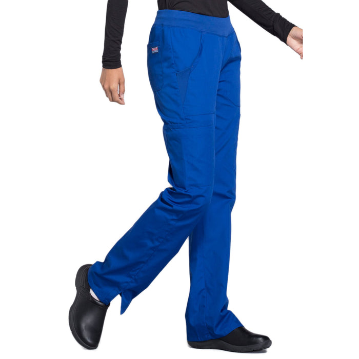 Cherokee Workwear WW210 Scrubs Pants Women's Mid Rise Straight Leg Pull-on Cargo Galaxy Blue 5XL