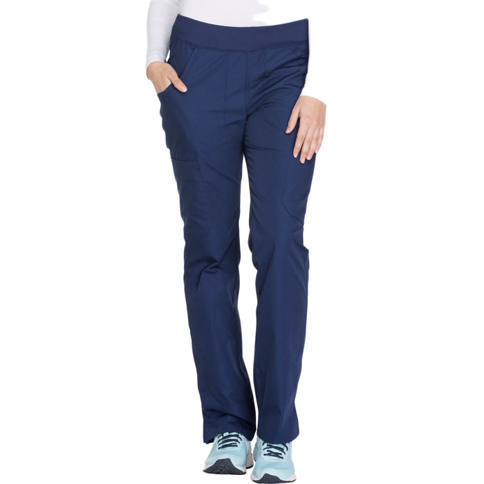 Cherokee Workwear WW210 Scrubs Pants Women's Mid Rise Straight Leg Pull-on Cargo Navy