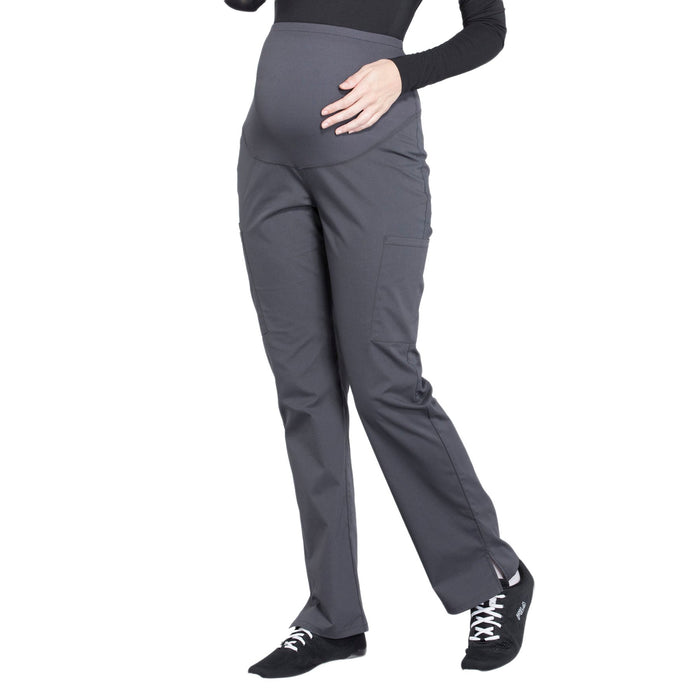 Cherokee Workwear Professionals WW220 Scrubs Pants Maternity Straight Leg Pewter L