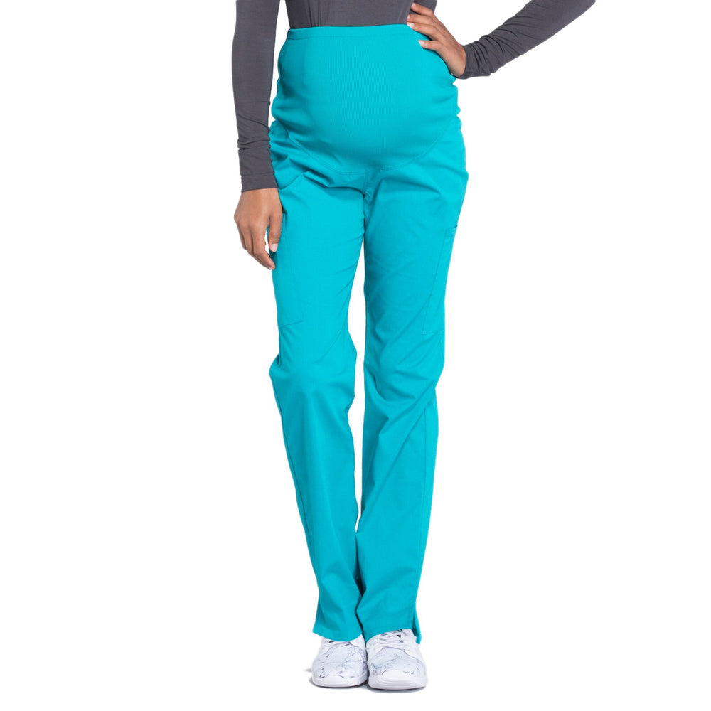 Cherokee Workwear Professionals WW220 Scrubs Pants Maternity Straight Leg Teal Blue