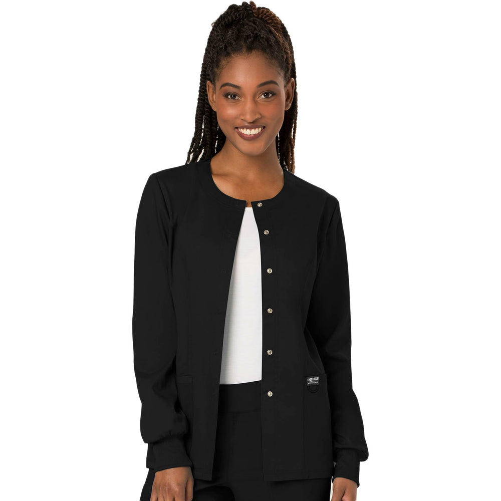 Cherokee Workwear Revolution WW310 Scrubs Jacket Women's Snap Front Warm-up Black