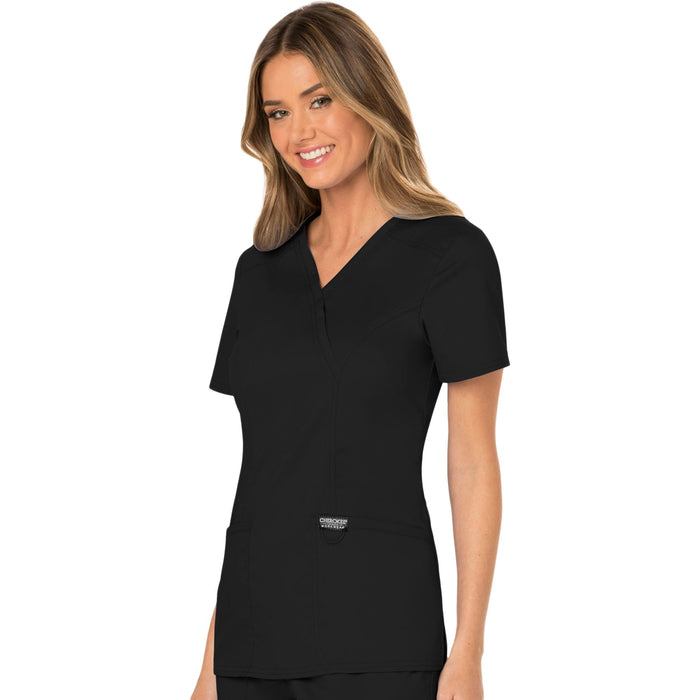 Cherokee Workwear Revolution WW610 Scrubs Top Women's Mock Wrap Black 4XL
