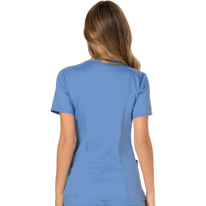 Cherokee Workwear Revolution WW610 Scrubs Top Women's Mock Wrap Ciel Blue 3XL