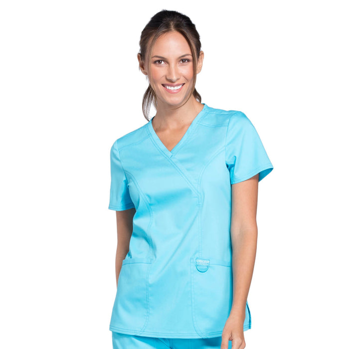 Cherokee Workwear Revolution WW610 Scrubs Top Women's Mock Wrap Turquoise