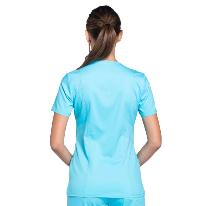 Cherokee Workwear Revolution WW610 Scrubs Top Women's Mock Wrap Turquoise 3XL