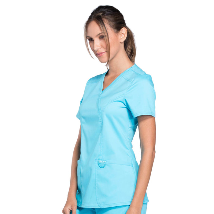 Cherokee Workwear Revolution WW610 Scrubs Top Women's Mock Wrap Turquoise 4XL